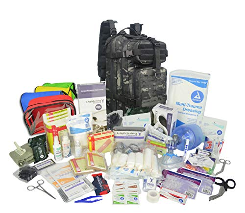 Lightning X Stocked EMS/EMT Trauma & Bleeding First Aid Responder Medical Backpack + Kit + Pouches - Black Multicam