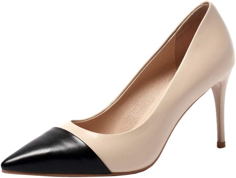 Nine Seven Women's Genuine Leather Clear Pointed Toe High Stiletto Heel Handmade Graceful Cap Toe Pumps