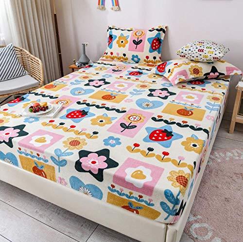 Lenzuolo con angoli,Nuove lenzuola con angoli in velluto di latte, biancheria da letto per ragazza in velluto corallo, coprimaterasso caldo e spesso a forma di cartone animato-H_180x200cm + 30cm