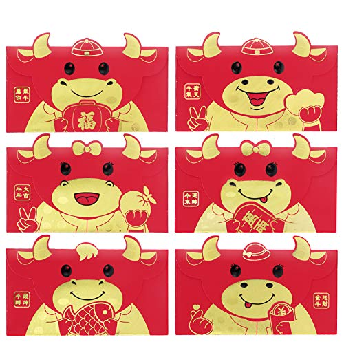 Chinese Red Envelopes, KissDate 18PCS 2021 Chinese New Year Ox Year Hong...
