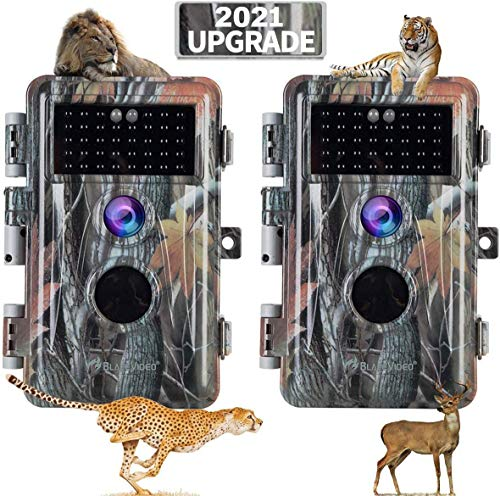 [2021 Upgrade] 2-Pack Night Vision Game Trail Cameras 24MP 1296P H.264 MP4 Video No Glow Deer Hunting Cams IP66 Waterproof & Password Protected Motion Activated Photo & Video Model Time Lapse