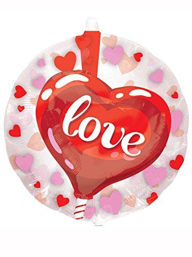 amscan 3417901 26 x 66 cm Happy de Saint-Valentin Cœur avec Fleurs Insiders Foil Ballons
