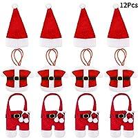 Design adorabile: questi portastesa natalizia sono il design del vestito di Babbo Natale, aspetto molto carino, classico colore rosso e bianco sono strettamente associati con tema di Natale, utilizzandoli per decorare le posate può aumentare l'atmosf...
