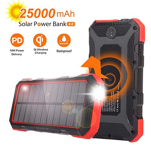 Solar Charger 25000mAh Sendowtek PD 18W Solar Power Bank 7.5W/10W Qi Wireless Portable Phone Charger High-speed 4 Output & 2 Input Huge Capacity Backup Battery Flashlight Rainproof for Outdoor Camping