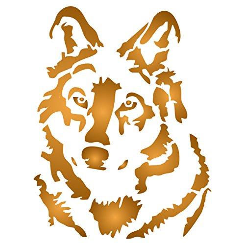 Wolf Schablone – 35,5 x 46 cm (L) – Wiederverwendbare Wandschablone mit Hund und Wildtier Wolfskopf