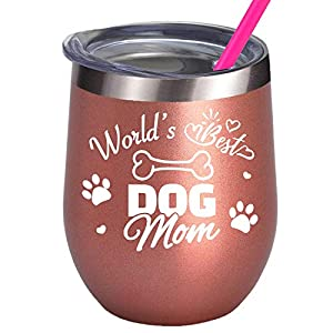 Insulated wine tumbler with dog quote