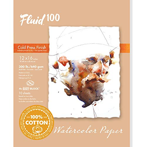 Fluid 100 Watercolor Paper 821218 300LB 100% Cotton Cold Press 9 x 12 Block, 10 Sheets
