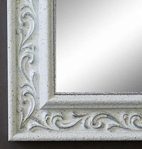 Spiegel Wandspiegel Badspiegel Flurspiegel Garderobenspiegel - Über 200 Größen - Verona Weiß Silber 4,4 - Außenmaß des Spiegels 50 x 130 - Wunschmaße auf Anfrage - Antik, Barock