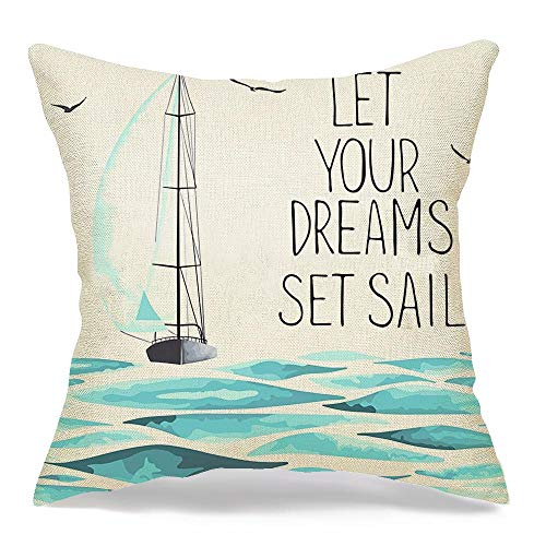 Pillowcase Sailboat Seagulls Around Objects Made Watercolor Transportation Theme Lake Parks Trip On Outdoor Soft Decorative Throw Pillow Cover Cushion Case Home Decor for Couch Car 18x18 Inch