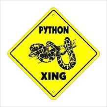 FQDIQI Metal Tin Sign Wall Decor Python Crossing Sign Tall Snake cage Supplies Feed Food How to 8x8 Inches