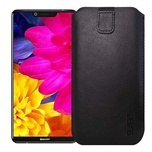 Slabo Schutzhülle für Sharp Aquos D10 Schutztasche Handyhülle Hülle mit Magnetverschluss aus Kunstleder - SCHWARZ | Black