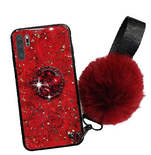 Homikon Silikon Hülle Glänzend Bling Glitzer Schutzhülle Glitzer Diamant Ring Ständer Stoßdämpfend PC Rückschale TPU Silikon Bumper Handyhülle Tasche Case Kompatibel mit Huawei P30 Pro - Rot