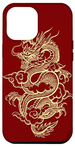 iPhone 12 Pro Max Red & Gold Chinese Dragon Kanji Japanese Asian Traditional Case