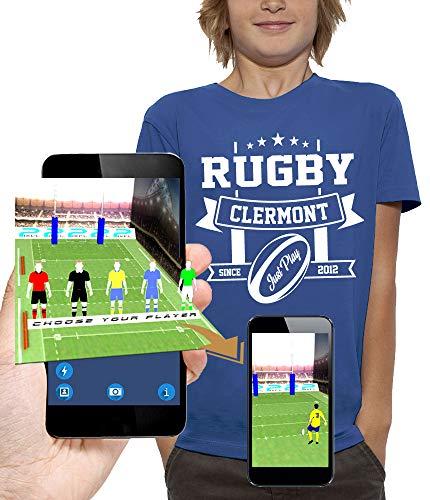 PIXEL EVOLUTION Camiseta 3D Rugby Clermont en Realidad Aumentada Niño - tamaño 5/6 años - Royal Blue