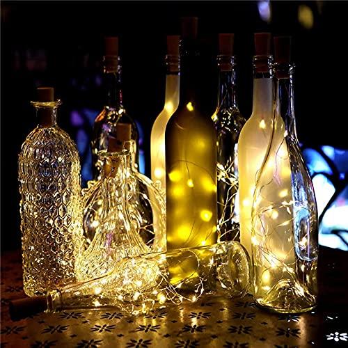 JIJK 6 luces de botella, cadena de luces para botella, alambre de cobre de corcho, funciona con pilas (incluidas) para botellas de vino con 10 luces LED para decoración de bodas y fiestas de Navidad
