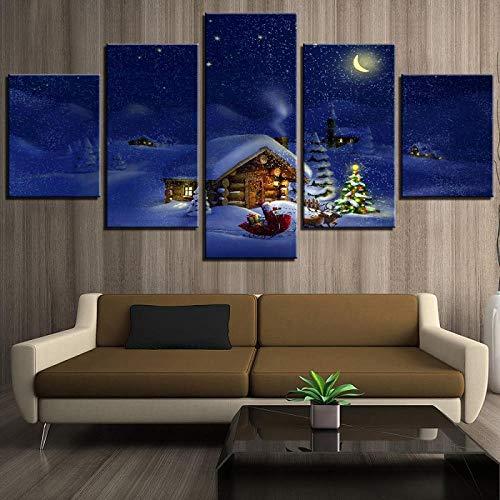 ZJJBH Home Decor 5 Panel Weihnachtskabine/Weihnachtsmann/Baum/Schnee Leinwand Nachthimmel Poster Druck Gemälde Wandkunst Für Wohnzimmer Bild 200X100Cm Hauptschlafzimmerbürokinderwandplakatlan