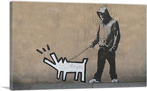 ARTCANVAS Choose Your Weapon Keith Haring Dog Canvas Art Print by Banksy - 26' x 18' (0.75' Deep)