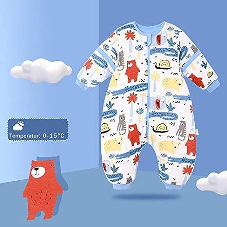 Saco de dormir para beb/é con piernas de forro c/álido, para invierno, de manga larga, con pies y zapatos de beb/é, 3,5 tog, tama/ño de cuerpo 88 cm /– 98 cm, avi/ón azul