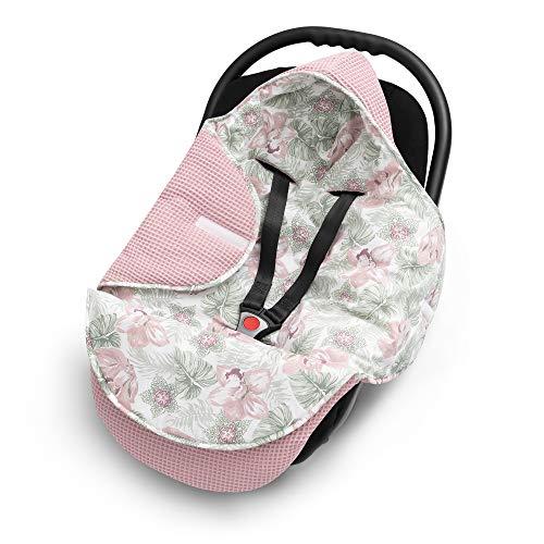 EliMeli EINSCHLAGDECKE für Babyschale Baby Decke für Autositz und Kinderwagen aus Waffelstoff und Baumwolle mit Füllung, universal z.B. Maxi Cosi Kinderwagendecke (Rosa - Blumen)