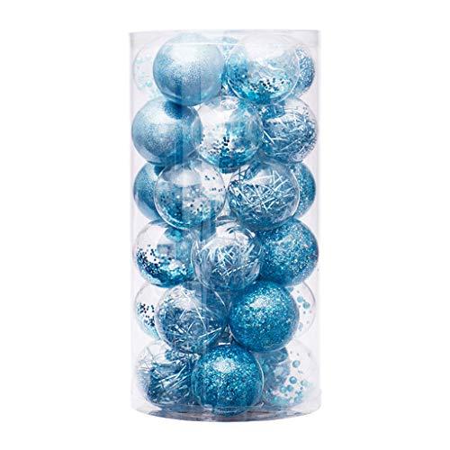 DAKIFENEY 6cm / 30 Piezas Bolas de Navidad Adornos de plástico Transparente Fiesta Árbol de Navidad Decoración Colgante, Azul
