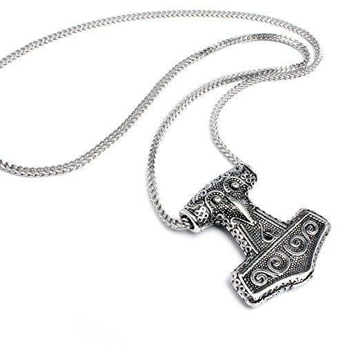 Edelstahl Herren Anhänger original Thor Hammer Mjölnir detailliert silber 60cm Halskette