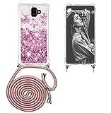 Ptny Case Funda Colgante movil con Cuerda para Colgar Samsung Galaxy J6 Plus Carcasa Correa Transparente de TPU con Cordon para Llevar en el Cuello con Ajustable Collar Cadena Cordón en Rosa Rosa