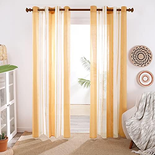 Deconovo Cortinas Habitacion, Translucidas de Diseño Moderna, Visillos para Habitación Dormitorio, con Ojales, 140x175cm(Ancho x Alto), Amarillo Oscuro, 2 Piezas