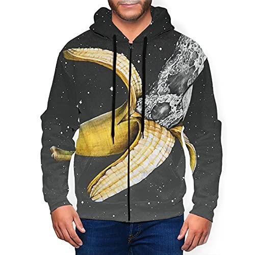 Felpa con cappuccio da uomo con cappuccio e cappuccio classico grafico con cappuccio Active Top Camicetta, Luna Nascondere Nel Banana Nero, M