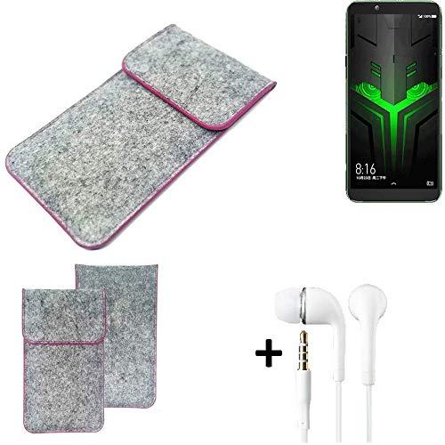 K-S-Trade Filz Schutz Hülle Für Xiaomi Blackshark Helo Schutzhülle Filztasche Pouch Tasche Hülle Sleeve Handyhülle Filzhülle Hellgrau Pinker Rand + Kopfhörer
