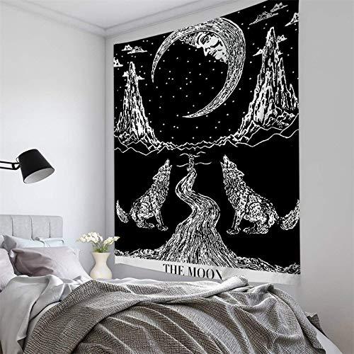 Satán Tarot Card Black Cat Tapiz Hippie Luna Lobo Brujería Decoración Tapiz Pared Manta Tela de fondo a6 73x95cm