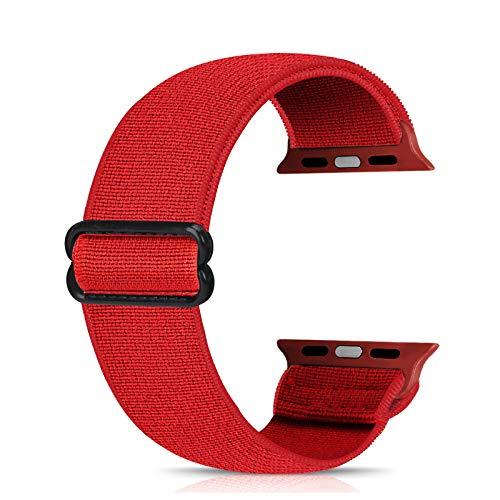 Ecogbd - Cinturino di ricambio elastico compatibile con Apple Watch Strap 38 mm, 40 mm, 42 mm, 44 mm, tessuto di nylon morbido, compatibile con iWatch Series 6, 5, 4, 3, 2, 1, SE(42 mm/44 mm, rosso)