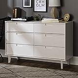 Walker Edison Mid Century Modern Grooved Handle Wood Dresser Bedroom Storage Drawer Organizer Closet Hallway, 6 Drawer, White