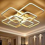 BFMBCHDJ Anillos Circel cuadrados Luces de techo para sala de estar Dormitorio Hogar Modernos accesorios de lámpara de techo Led Lustre Blanco cálido 4 cabezas 580x460 mm