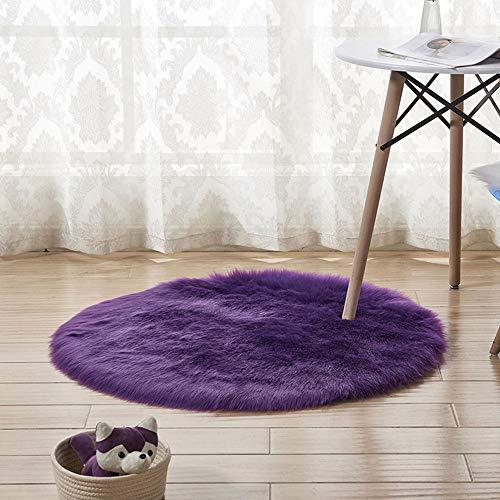 XINGKEJI Super zachte ronde tapijt, imitatie wol schapenvacht tapijt, kunstwollen stoel kussen, slaapkamer deken, Geschikt voor woonkamer, badkamer, hal, slaapkamer 30cm Paars/30cm