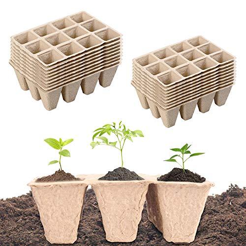 Paquete de 10 semilleros biodegradables,Bandejas biodegradables para plántulas,bandejas para semilleros,Macetas de turba, Mini macetas para Jardín Plántulas y Trasplantes (20)
