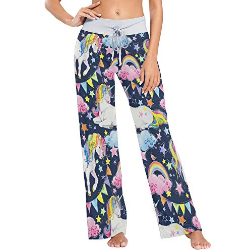LENNEL Frauen Bequeme Kordelzug Pyjamahose lässig weites Bein Yogahosen L buntes Einhorn