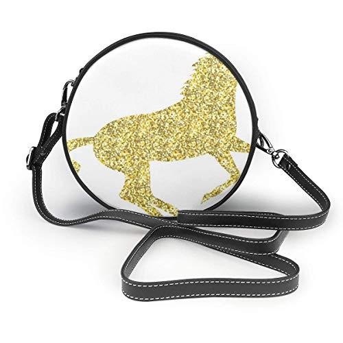 Bolso inclinado para mujer, diseño de unicornio mítico de oro, bolso de hombro individual, bolsa de viaje para la fecha