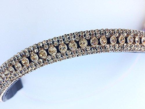 GS - Reitsport Stirnriemen Stirnband für Trensen mit filigran geschliffenen Kristallen geschwungen (37 cm)