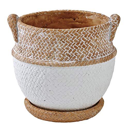 SPICE OF LIFE(スパイス) 植木鉢 編みかごプランター チャビー ホワイト Lサイズ 幅16.5cm 奥行15.5cm 高さ15cm CBGZ1023WH