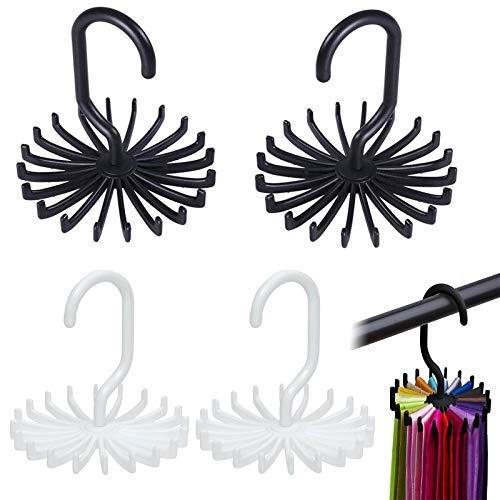 N/H xianzhanEU 4 Stücke Krawattenhalter,360° Drehbar Krawattenbügel für Schrank Organisator Lagerung,Geeignet für Krawatte und Gürtel,mit 20 Haken(Schwarz/Weiss)