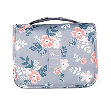 Ac.y.c Hanging Toiletry Bag-Portable Travel Organizer Cosmetic Make up Bag case for Women Men Shaving Kit with Hanging Hook for vacation Grey Flower
