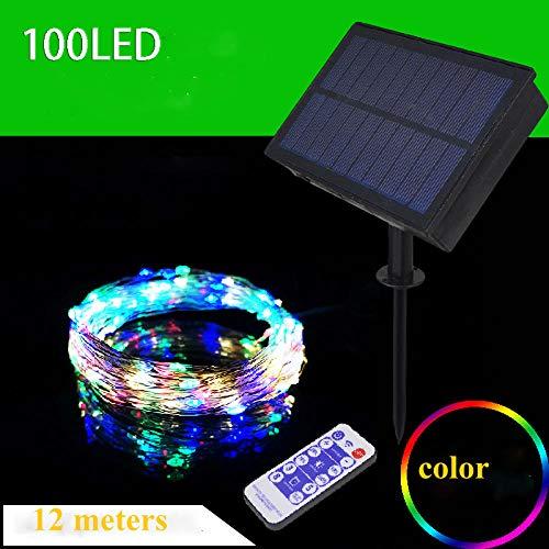 Heldere afstandsbediening zonne-koperdraad lichtslingers, waterdichte outdoor LED-vakantielichten, tuindecoratie-100 kop zilveren draadkleur