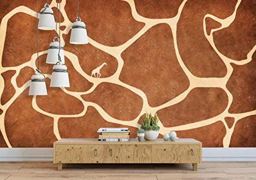 Fototapete Wandbilder 3D Effekt Abstraktes Giraffenmuster Braun Tapete 3D Vliestapete Tapeten Wandbild Tapeten Wohnzimmer Tv Wanddeko 400x280 cm