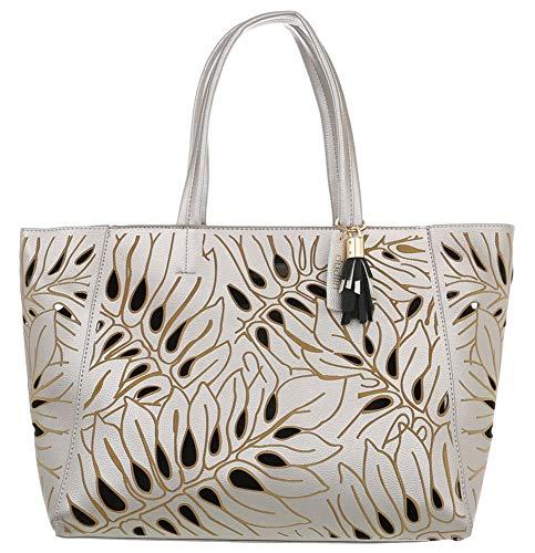 Dudlin Damen Schultertasche Model: Blätter & Metallic, Handtasche, Shopperbag in hochwertiger Lederoptik (10078)
