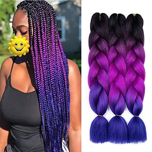 Ombre Braiding Hair 3 Packungen Kanekalon Jumbo Braiding Hair Extensions 24-Zoll-Ausdruck Braiding Hair Synthetisches Haar zum Flechten (Schwarz-Lila-Blau)
