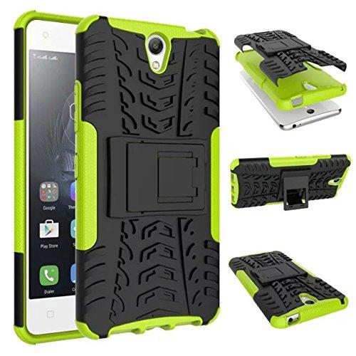 Für Lenovo Vibe S1,Sunrive Hülle Tasche Schutzhülle Etui Hülle Cover Hybride Silikon Stoßfest Handyhülle Hüllen Zwei-Schichte Armor Design Tasche mit schlagfesten mit Ständer Slim Fall(grün)+Gratis Universal Eingabestift