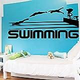 Pegatinas de pared de vinilo para deportes de natación, silueta de rebote de natación personalizable, estudio de yoga, meditación de la India