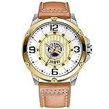 WNGJ Orologio Sportivo, Impermeabile al Quarzo Orologi Cronografo, Orologio da Uomo per Uomo di Business Calendario, Orologi Uomo, Orologio Classico Arancione Brillante