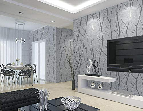 Moderne minimalistische mode niet-geweven behang rollen 3D reliëf tak streep muur papier voor woonkamer TV bank achtergrond muur Lichtgrijs