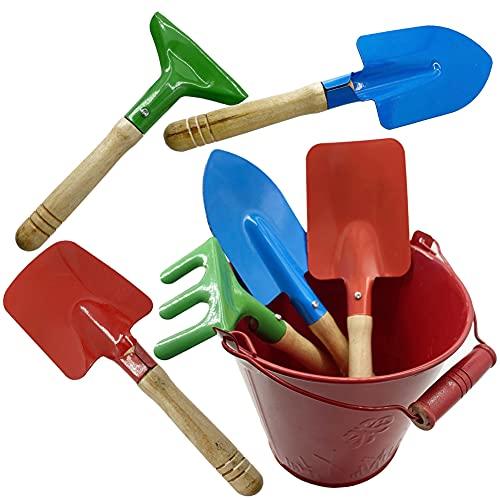 Huaxiangoh Gartenset,7-teiliges Gartenwerkzeug Set für Kinder - kleine Harke, Schaufel und Spaten aus robusten Metall und Holz,Gartenwerkzeug,perfekt für Gartenarbeit, Strand